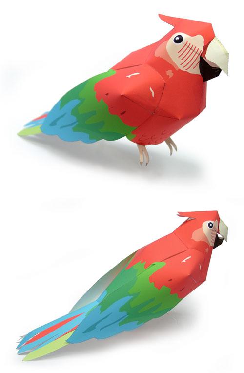 Объемный попугай из бумаги своими руками схема 80
